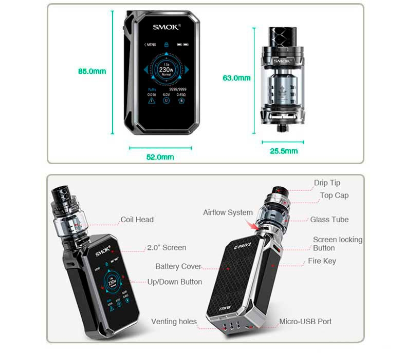 Smok-G-priv-2-tfv12-P-luxe-edition-kit-specifikationer